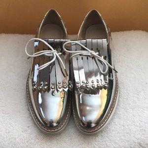 Silver Zara Oxfords